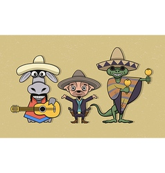 Mexican cartoon characters vector image vector image