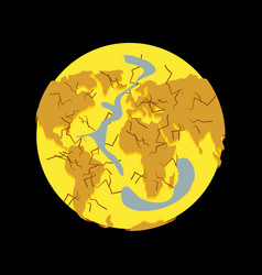 Planet drought dry ground natural disasters on vector
