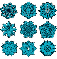 set of mandalas snowflakes vector image