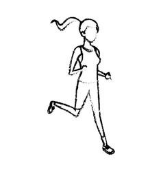 sketch sport girl runner healthy lifestyle design vector image