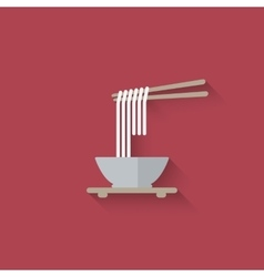 Chinese noodles with chopsticks vector image