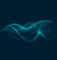 digital flow wave with particles in motion vector image vector image