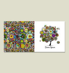 greeting card design floral tree vector image