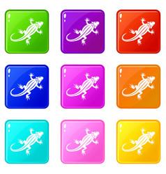 lizard icons 9 set vector image vector image
