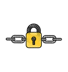 Safe secure padlock with chain vector