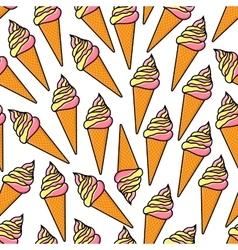 Soft serve ice cream cones retro seamless pattern vector image