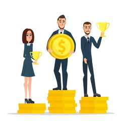 Businessman stand on money coin and hold a prize vector
