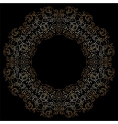 Gold circular pattern on black backgroud vector image