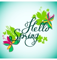 Hello Spring Butterfly vector image vector image
