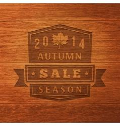 2014 autumn sale label on wood texture vector