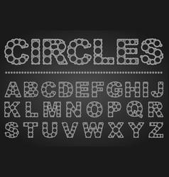 Abc font circles in english elegant typeface vector