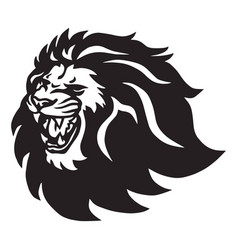 Angry lion head roaring logo icon vector