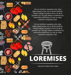 Barbecue burgers and equipment chalkboard poster vector