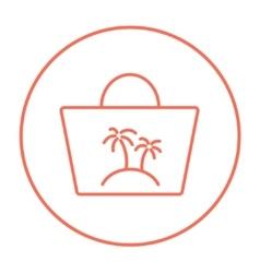 Beach bag line icon vector