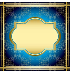 Blue and gold vintage card vector
