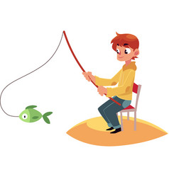 boy fishing with a rod sitting on river pond bank vector image