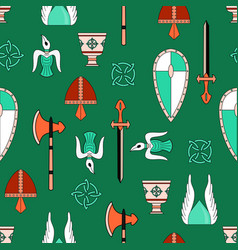 Bright seamless pattern about vikings life vector