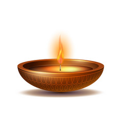 Burning diya on happy diwali holiday isolated on vector