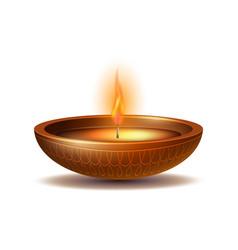 burning diya on happy diwali holiday isolated on vector image