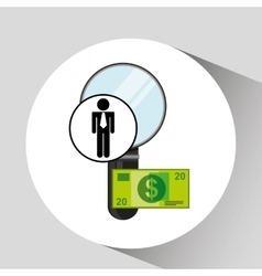 Business man searching money digital design vector