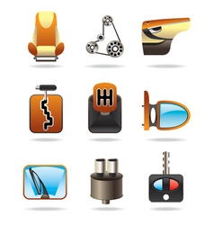 Car parts icon set vector