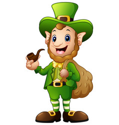 cartoon leprechaun carrying sack of gold with hold vector image
