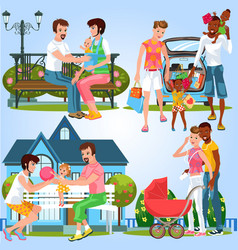Cartoon set of homosexual families with little vector