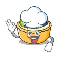 chef fruit tart character cartoon vector image