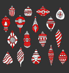 christmas tree toys and balls drawn by hand vector image