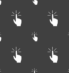 Click here hand icon sign Seamless pattern on a vector image