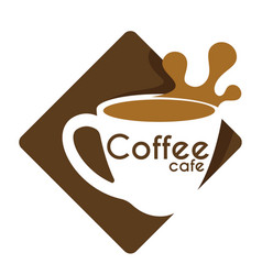 Coffee cafe hot drink in cup and splash isolated vector