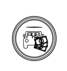 Contour stamp with car and bills vector