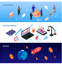 crypto currency isometric banners vector image