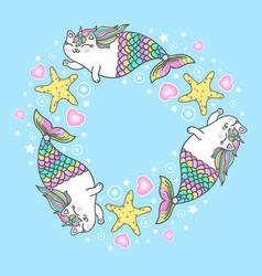 cute cat unicorn mermaid clipart vector image