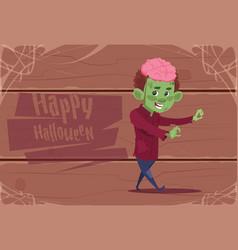 cute kid wear zombie costume happy halloween vector image