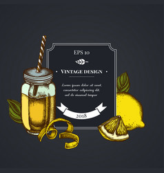 dark badge design with lemons basil smothie jars vector image