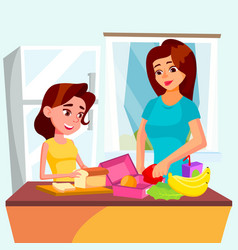 Daughter helps her mother cooking together in the vector