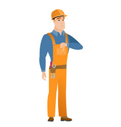disappointed caucasian builder with thumb down vector image