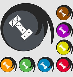 domino icon Symbols on eight colored buttons vector image