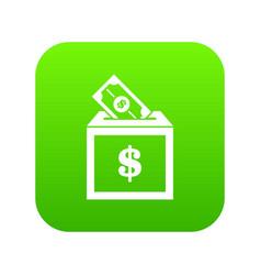 donation box icon digital green vector image