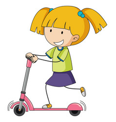 Doodle girl playing kick scooter vector