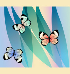 exotic colorful butterflies on fantasy leaves vector image