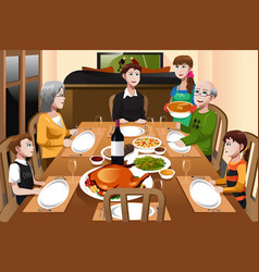 Family having a thanksgiving dinner vector