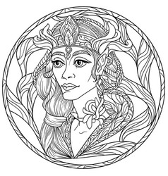 Fantasy coloring page with beautiful girl elf vector