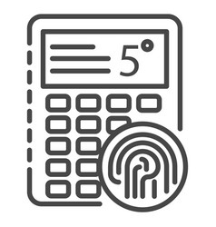 fingerprint smart lock icon outline style vector image