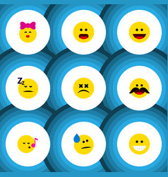 Flat icon emoji set of cross-eyed face caress vector