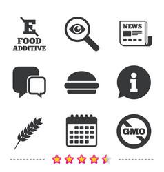 Food additive icon hamburger fast food sign vector