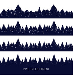 forest christmas fir trees silhouette vector image