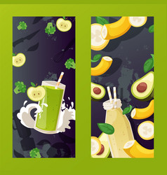 Fruit smoothie cafe banner summer cocktail menu vector