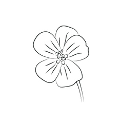 Geranium flower simple black lined icon vector